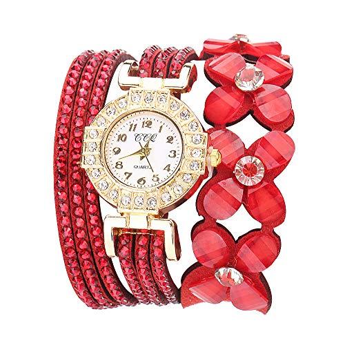 MORETIME Reloj para Mujer, Relojes Actividad Mujer Moda Digitale Pulsera de Cuarzo Ladies Diamond Watch Reloj de Pulsera de Cuarzo con diseño de Flores de Ginebra Regalo para Novia
