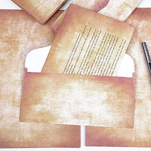50 Sobres Vintage 50 Hojas Papeles Antiguos de Cartas Impresos Invitaciones Agradecimiento Cartas Tarjetas Regalo Fiesta Boda Cumpleaños