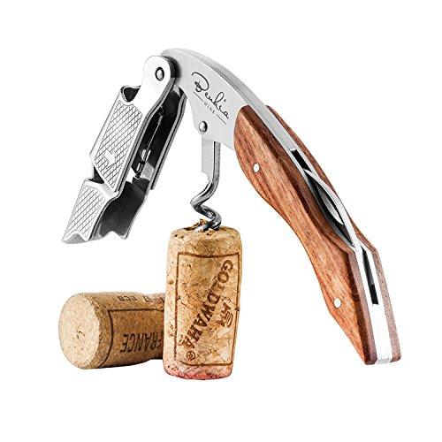 BENKIA Bois Couteaux de sommelier - Tire bouchon professionnel en acier inoxydable, qualité hôtellerie-restauration, avec décapsuleur et coupe-capsule