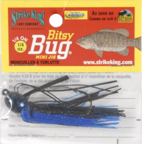 Strike King Bitsy Bug Mini Jig Bait (Black/Blue, 0.125-Ounce)