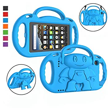 LTROP Kindle Fire 7 Tablet Case Fire 7 2019/ 2017 Case for Kids - Light Weight Handle Stand Shoulder Strap Child-Proof Case for Fire 7-inch Display Tablet   9th Generation & 7th Gen  - Blue
