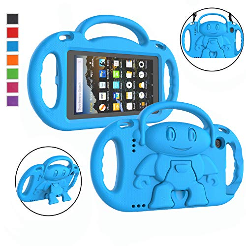 LTROP Kindle Fire 7 Tablet Case, Fire 7 2019/ 2017 Case for Kids - Light Weight Handle Stand Shoulder Strap Child-Proof Case for Fire 7-inch Display Tablet ( 9th Generation & 7th Gen) - Blue
