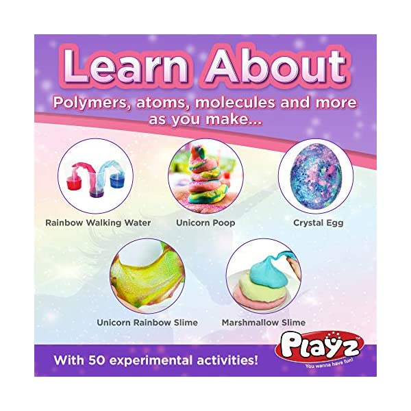 Playz Unicorn Slime & Crystals Science Kit Gift for Girls & Boys with 50+ STEM Experiments to Make Glow in The Dark Unicorn Poop, Snot, Fluffy Slime, Crystals, Putty, Arts & Crafts for Kids Age 8-12 6