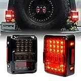 Xprite 4D Smoked Lens LED Tail Lights for Jeep Wrangler JK JKU 2007-2018, Plug & Play, Built in Resistor, w/...