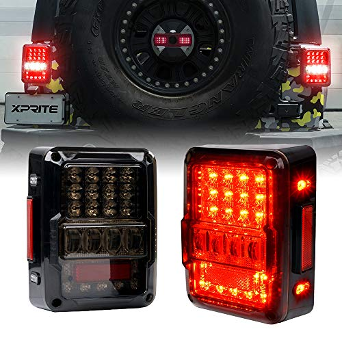 Xprite 4D Smoked Lens LED Tail Lights for Jeep Wrangler JK JKU 2007-2018, Plug & Play, Built in Resistor, w/ Parking Light, Brake Turn Signal Lamp and Reverse Light DOT Approved - 2PC Review