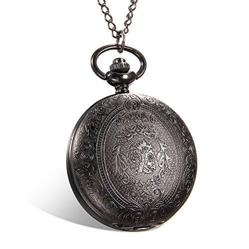 Lancardo Reloj de Bolsillo de Cuarzo Formato de 24H Cubierta Tallada Dial de Números Árabes Collar de Suéter con Cadena Joyería de Cuerpo de Moda para Hombre/Mujer/Pareja (Plata) (Negro)