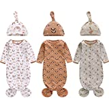 Newborn Knotted Nightgown Long Sleeve with Matching Hat Set 3 Pack, Cotton Baby Sleeper Gowns Sleeping Bags Home Outfits Set with Mitten Cuffs for Boys Girls (Pine Tree + Wave + Sloth, 0-3 Months)