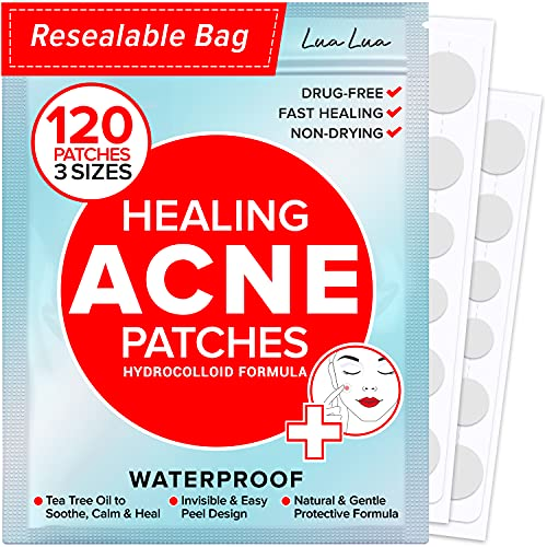 Acne Pimple Patches (120 Count - 3 Sizes) – Invisible Hydrocolloid Bandages with Tea Tree Oil, Absorbing Patches for Acne Spot Treatment, Blemish & Zit Stickers