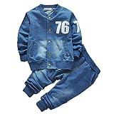 BOBORA Vêtements de Denim Ensemble Bebe Garçons Filles Automne Manteau a Manches Longues et Jeans Set 0-4Ans