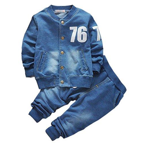 Shiningup Baby Boy Denim Kleidung Set Langarm-Mantel und Lange Jean Hosen Kleidung für 0-4 Jahre alt