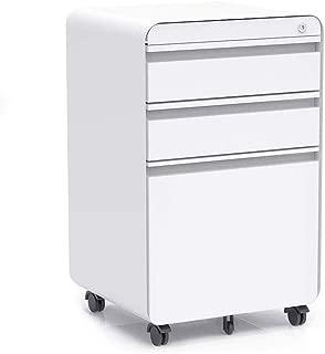 3-Drawer Filling Cabinet, Metal Vertical File Cabinet with Hanging File Frame for Legal & Letter File Install-Free Anti-tilt Design and Lockable System Office Rolling File Cabinet | White