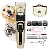 Wimypet Tierhaarschneidemaschine Hund Katze, Profi Hundeschermaschine, Wiederaufladbaren Haustier hundetrimmer Elektrische Haarschneider mit 11 Zubehör