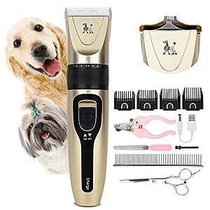 Wimypet Cortapelos para Mascotas, Cortapelos Perros, Cortapelo para Perros Gatos Mascotas Profesional, Kit de Maquina cortar pelo perros Recargable Bajo Ruido con 14 Accesorios para Todas Las Mascotas
