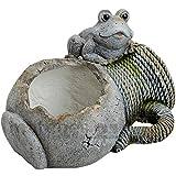 matches21 Pflanzgefäß Pflanzschale Krug Antik mit Frosch Garten-Deko 35x25x28 cm Kunststein (Magnesia) wetterfest frostbeständig