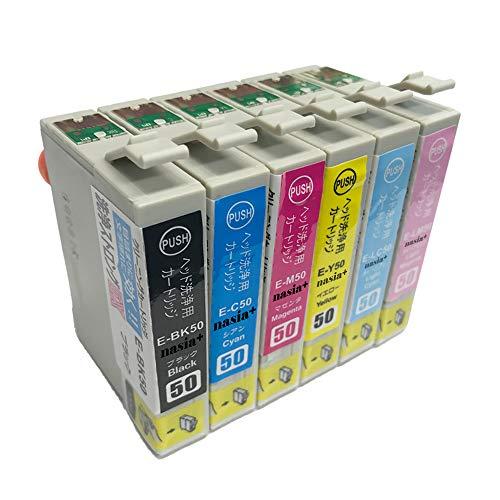 EPSON プリンター 洗浄液 IC6CL50用 (BK/C/M/Y/LC/LM) 【洗浄液/6色セット】 目詰まりや印字擦れのクリーニングカートリッジ 【nasia+製】 (最新型ICチップ/製品1年保証付き) クリーニング液で解決しましょう!エプソン用 IC50 Clean-IC50-6CL