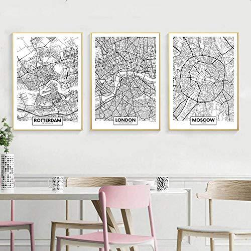 Zwart Wit Rotterdam London New York hoofdstad kaart canvas poster muurkunst druk schilderijen Nordic decoratieve afbeelding decor 40x60cmx3 niet ingelijst
