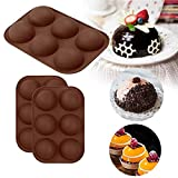 Medium Semi Sphere Silicone Mold, 2 Packs Baking Mold for Making Hot Chocolate Bomb, Cake, Jelly,...