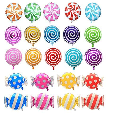 21 pcs 18' Sweet Candy Balloons, Round Lollipop Balloon Birthday Wedding Party Balloons
