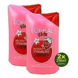 L'Oréal Kids, Very Berry Strawberry, shampoo per bambini alla fragola, 2 confezioni da 250 ml (= 500 ml) (etichetta in lingua italiana non garantita)