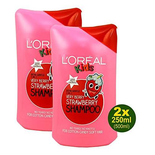 L'Oréal Kids Champú Very Berry Strawberry 2 x 250 ml (500 ml) para pelo suave de algodón de azúcar