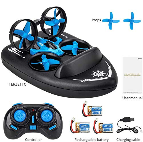 Mini Drone for Kids,2.4G Remote Control 3 in 1 Drone Vehicle Boat RTF Rc Quadcopter Waterproof Hovercraft Toy Gift Rc Boat for Kids Best Gift for Children