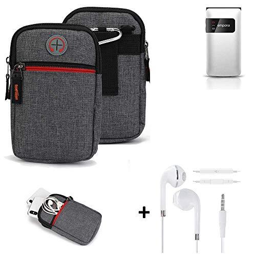 K-S-Trade® Gürtel-Tasche + Kopfhörer Für -Emporia FLIP Basic- Handy-Tasche Schutz-hülle Grau Zusatzfächer 1x