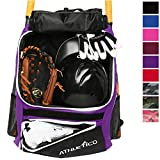 Athletico Baseball Bat Bag - Backpack for Baseball, T-Ball & Softball Equipment & Gear for Youth and Adults   Holds Bat, Helmet, Glove, & Shoes  Shoe Compartment & Fence Hook (Purple)