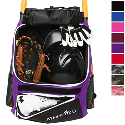 Athletico Baseball Bat Bag - Backpack for Baseball, T-Ball & Softball Equipment & Gear for Youth and Adults | Holds Bat, Helmet, Glove, & Shoes |Shoe Compartment & Fence Hook (Purple)