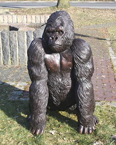 Thermobrass Bronzeskulptur großer naturgetreuer Gorilla - Dekoration für den Garten - 78x121x60 cm