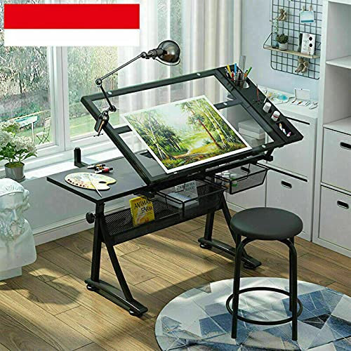 Escritorio de altura regulable e inclinable, mesa de ordenador para dibujos, mesa de trabajo (mesa de cristal individual)