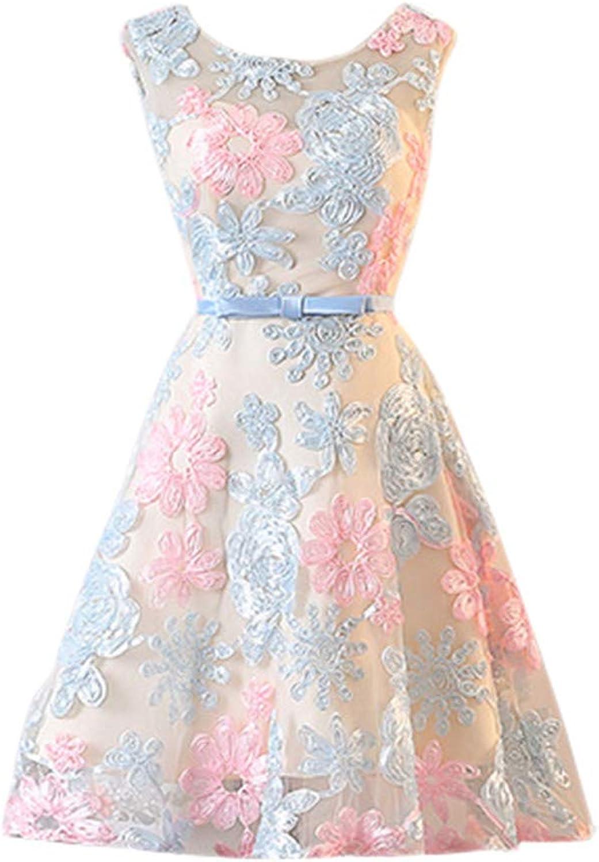 Drasawee Women's Short Backless Satin Applique Cocktail Dress Exquisite Sleeveless Prom Dresses