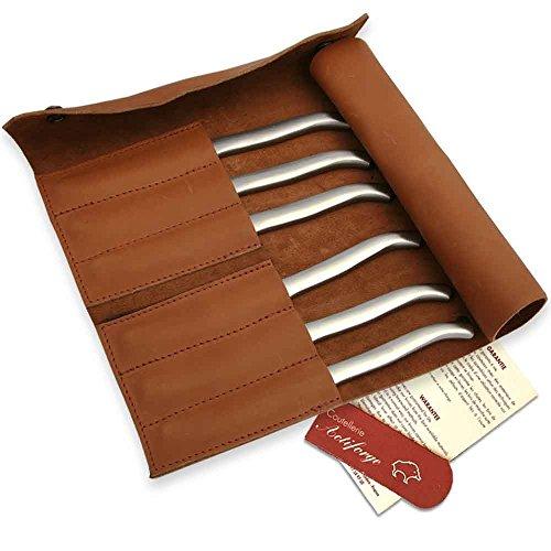 Pochette de cuir pleine fleur avec 6 couteaux Laguiole inox plats satinés