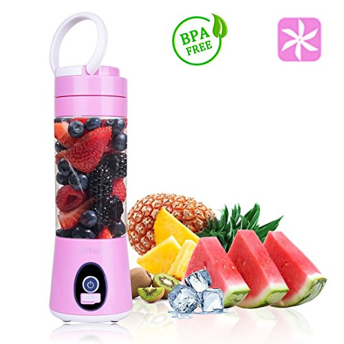 Portable Blender Mini Travel Juice Cup, Bbtops Fruit Mixer Personal Size USB Juicer Cup, USB Charging Sport Juice Maker, Shakes and Smoothies Blender 380ml, Pink
