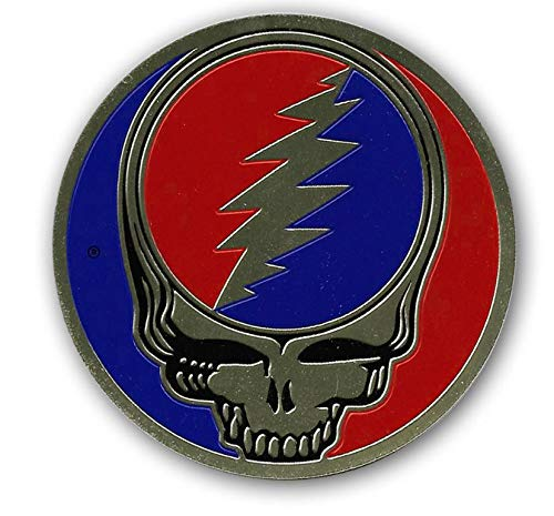 Peacemonger Grateful Dead 1.125 Inch Small Brass Steal Your Face SYF Metal Sticker Decal