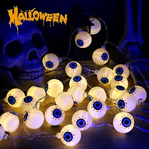 Aoreun Luces de Cadena de Halloween, Globo Ocular Luces de Decoración Halloween 4,5M 30LED 3D para Fiesta Halloween Navidad Interiores y Exteriores Casa Cosplay ⭐