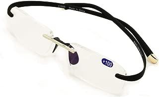 V.W.E Rectangular Rimless Memory Flex Temple Reading Glasses With Anti-reflective AR Coating