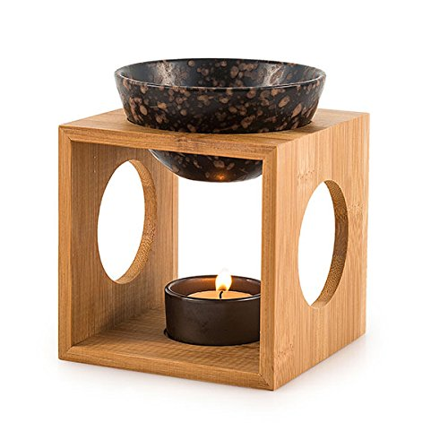 pajoma Duftlampe Fire aus Bambus/Keramik, L 12 x B 12 x H 12,5 cm