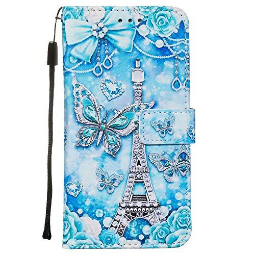Nadoli Leder Hülle für Samsung Galaxy Note 10 Lite,Bunt Turm Schmetterling Malerei Ultra Dünne Magnetverschluss Standfunktion Handyhülle Tasche Brieftasche Etui Schutzhülle