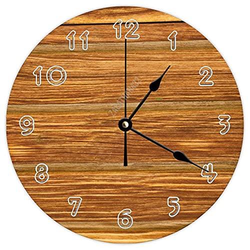 Dom576son Reloj de pared redondo con estampado de madera vintage de 12 pulgadas, reloj de madera de granja, decoración de pared, reloj de madera de Perú para dormitorios de niños, sala de estar, baño
