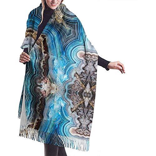 Blue Geode Agate Rocks Bufanda con flecos de mujer Cachemira Siente cálida y elegante Bufanda de abrigo de mantón para otoño invierno