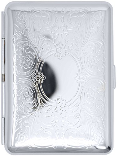 Silver Victorian Scroll (14 Kings) Metal-Plated Elastic Bands Cigarette Case & Stash Box