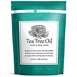 This tea tree oil foot soak helps with foot odor and fungus