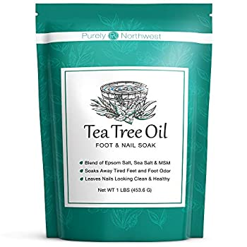 Tea Tree Oil and Epsom Salt Foot Soak- Professional Detox Pedicure-Alleviating Toenail Fungus Athletes Foot & Stubborn Odor Softens Dry Calluses Use in any Foot Spa Made in the USA by Purely Northwest 16 Oz