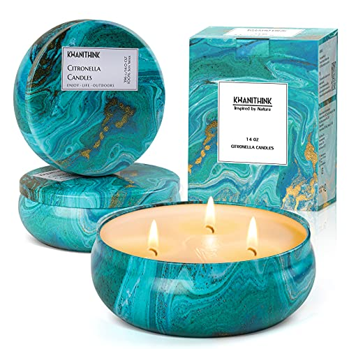 KWANITHINK Citronella Candles Outdoors Large, Garden Citronella Candle 14oz 3 Wicks, 100% Soy Wax Citronella Candle for Outdoor Indoor Home Garden Patio
