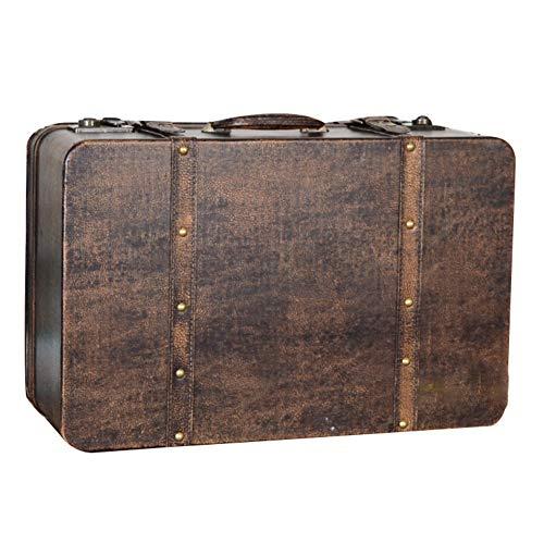 Cofres Maleta Vintage, Tesoro, Caja De Almacenamiento Portátil Accesorios PU Remache Equipaje Angustiado Acabado Caja De Madera Antigua, 2 Estilos GGYMEI (Color : Brown-49x30x19cm)