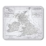 AOHOT Tapis de Souris England Engraving Map from The Complete Encyclopedia of Containing Original Iconographic Science Mouse Pad 9.5' x 7.9' for Notebooks,Desktop Computers Office Supplies