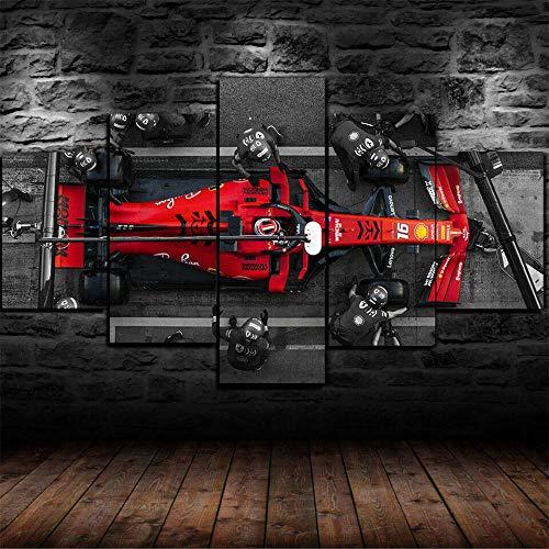 UIOJH Impresión 5 Piezas Cuadro En Lienzo Personalizado Modernos Murales Pared Parada en boxes de F1 Ferrari Modular...