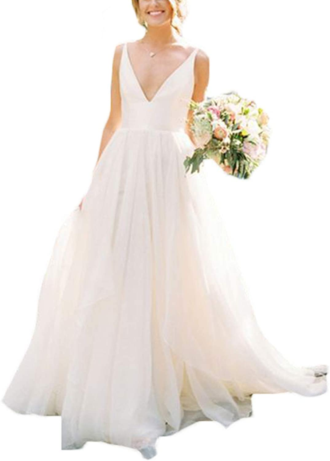Women's Spaghetti Strap VNeck Wedding Dresses for Bride 2019 Prom Dresses Bridal Wedding Gowns