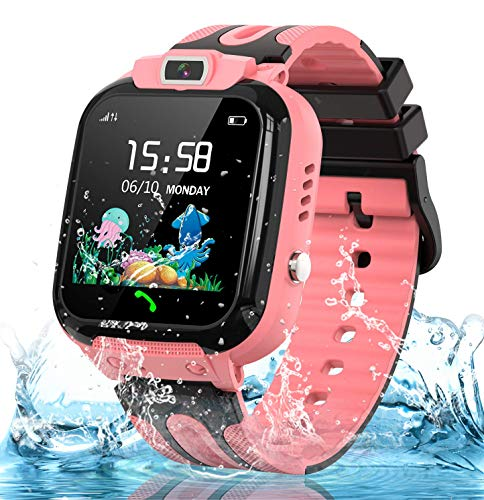 Smart Watch for Kids Girls Boys, IP67 Waterproof Kids Smartwatch w GPS Tracker, HD Touch Screen Call Alarm SOS Camera Cell Phone Watch for Children 3-14 Ages Birthday Gifts(Pink)