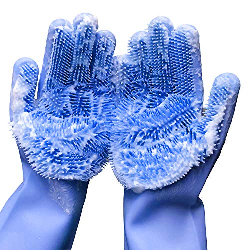 Cleaning Sponge Gloves Dishwashing Gloves Silicone Reusable Cleaning Brush Heat Resistant Scrubber Gloves for Housework Kitchen Clean Bathroom Bathing Car Washing 1 Pair 136quot Large